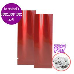 1.25x4.25in Glossy Red Mylar Open Top Bag For Coffee Tea Spi