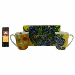 2 Coffee or Tea Mugs, Van Gogh Flowers in a Matching Gift Bo