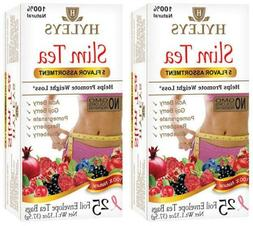 4 packs of Hyleys Slim Tea NO GMO 5 FLAVOR 100% Natural 25 t