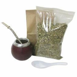 4 Pc Yerba Mate Set Tea Gourd Cup Straw Bombilla 6oz Leaf Ba
