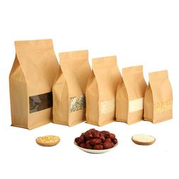 50 Pcs Big Capability Stand-up Kraft Paper Food Packaging <f