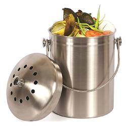 Estilo Stainless Steel Compost Pail, 1 Gallon Compost Bin, 2