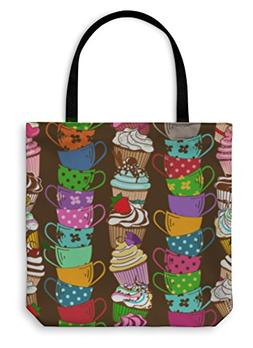 Gear New Shoulder Tote Hand Bag, Pattern Of Cupcakes And Tea