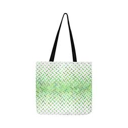 Green Green Pattern Curved Puzzle Canvas Tote Handbag Should