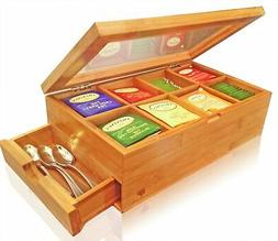 SOLID 100% BAMBOO Tea Box Natural Chest with Clear Hinged Li