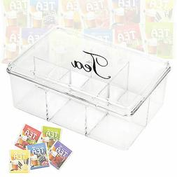 Acrylic Clear Tea Box 6 Sections With Lid Compartments Conta