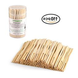 TONGYE Bamboo Forks 3.5 Inch, Mini Food Picks for Party, Ban