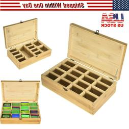 Bamboo Tea Bag Storage Box Wooden 16 Equally Compartments Or