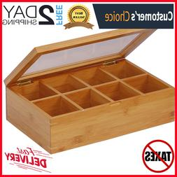 Bamboo Tea Bag Storage Box Wooden 8 Equally Compartments Org