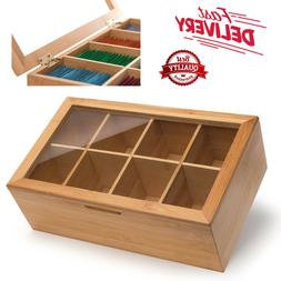 Randomgrounds Bamboo Tea Box Storage Organizer, Taller Size