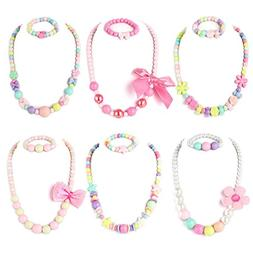 PinkSheep Beaded Necklace and Beads Bracelet for Kids, 6 Set