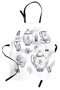 Ambesonne Blue and White Apron, Hand Drawn Teapots and Cups