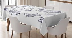 Blue and White Tablecloth by Ambesonne, Hand Drawn Teapots a