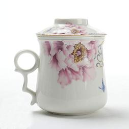 TEA SONG Ceramic Tea-Mug with Filter/Steeper and Lid Mom Dad