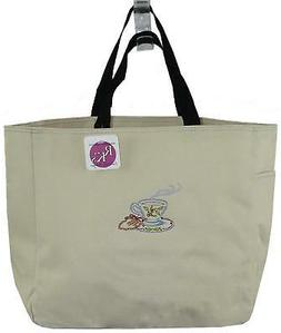 Christmas Holly Tea Cup Bag Stone Beige Tote Monogram Coffee
