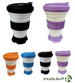 AVALEISURE 16oz Collapsible Travel Cup. A Foldable Silicone