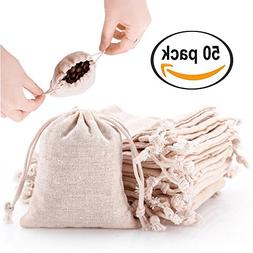 50pcs Small Cotton Double Drawstring Bags Reusable Muslin Cl