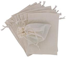 "4""x6"" Cotton Muslin Drawstring Bags, 100 Pack"
