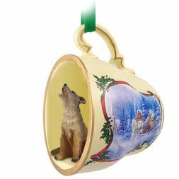Conversation Concepts Coyote Tea Cup Sleigh Ride Holiday Orn