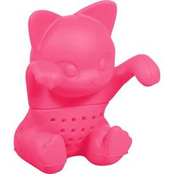 Cute Silicone Tea-infuser  in Cat Design - neon pink - for l