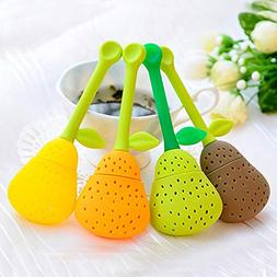 2 Pcs Cute Silicone Tea Strainer Pear Shape Reusable Tea Bag