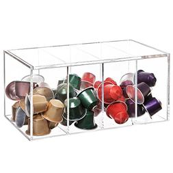 Deluxe Clear Acrylic 4 Compartment Hinge Lid Capsule Holder/