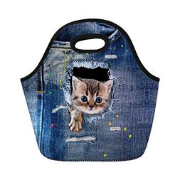 Sannovo Denim Teacup Cat Large Gourmet Lunch Tote Insulated