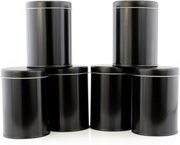 Double Seal Tea Canisters ; Black Metal Round Tea Tins w/Int