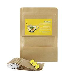 POOLOO Drawstring Tea Filter Bags, Disposable Unbleached Saf