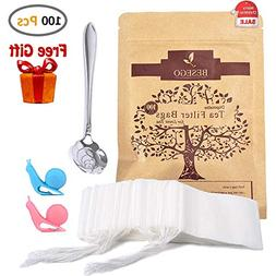 Besego 100Pcs Drawstring Tea Filter Bags with Spoon and Cup