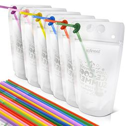 Drink Pouches, Teenitor 50 Pcs Zipper Plastic Pouches Drink