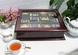 Elegant Tea Bag Chest Cabinet with glass door cover, solid w