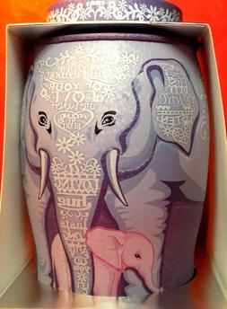 elephant mother w baby tin caddy canister
