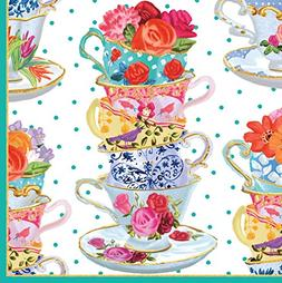 Entertaining with Caspari Cocktail Napkin, Pink Tea Cups, Bo