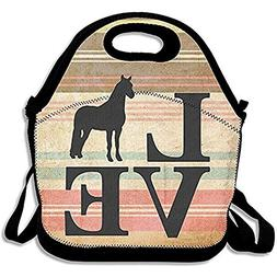 Farm Animal Love Horses Lunch Tote Insulated Reusable Picnic
