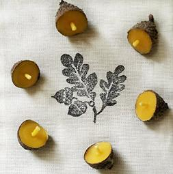 Floating Acorn Beeswax Candles ~ Set of 12