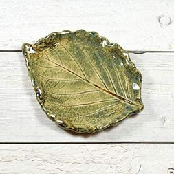 Small Leaf Spoon Rest - Tea Bag Rest - Ring Dish - Handmade