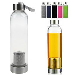 8d44445a90 Insulated Water Bottle Strainer Glass Tea Infuser Protectiv