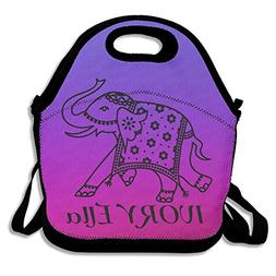IVORY ELLA Purple Lunch Bags Insulated Travel Picnic Lunchbo