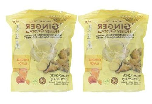 2 Bags Ginger Honey Crystals Instant Tea Prince of Peace Gin