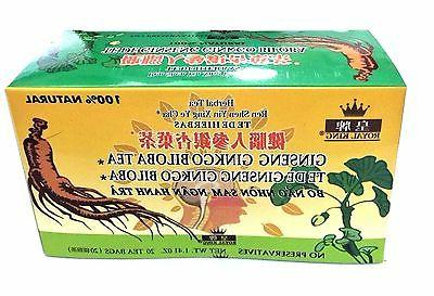 2 Boxes Royal King Ginseng Ginkgo Biloba Tea 40 Tea bags tot
