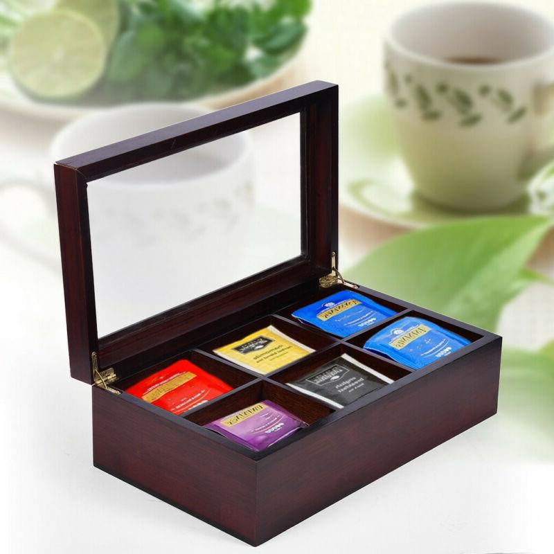 Bamboo Tea Box Organizer Chest 6 Compartments With Small Dra