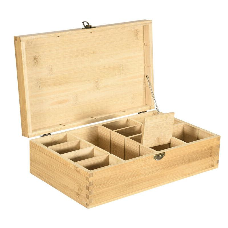 Bamboo Tea Bag Box Wooden 16 Compartments