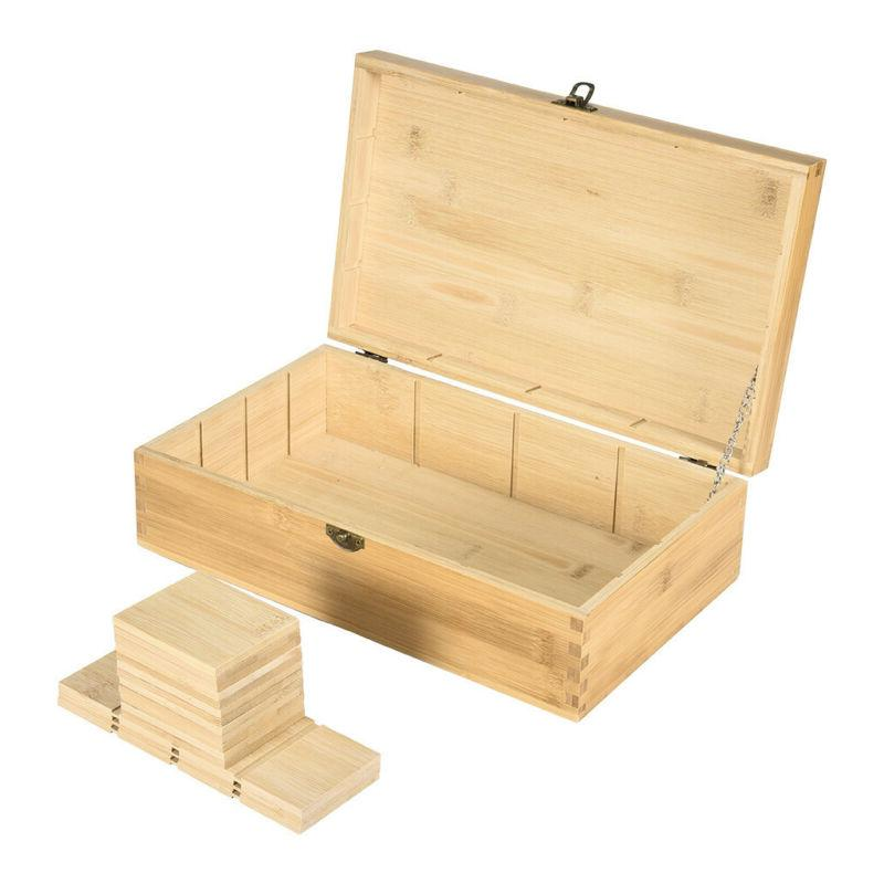 Bamboo Box Wooden Equally Compartments Organizer
