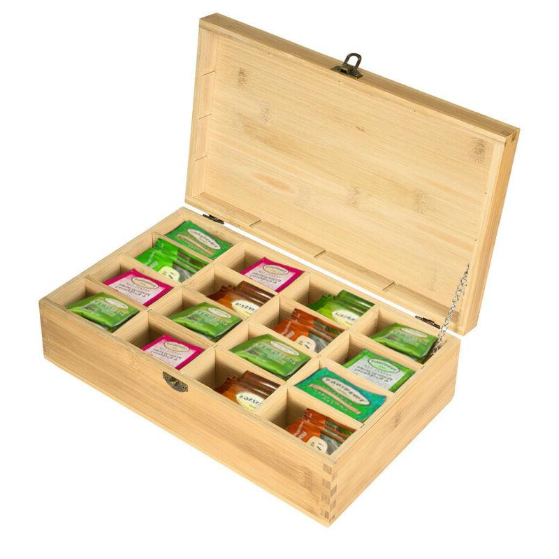 Bamboo Tea Bag Box Equally Compartments Organizer