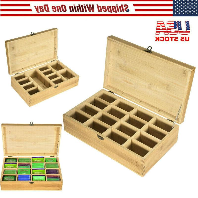 bamboo tea bag storage box wooden 16