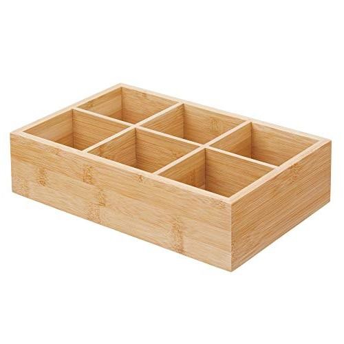 mDesign Bamboo Tea & Organizer Box 6 Divided Sections Coffee, Sugar/Sweeteners and Small Packets -