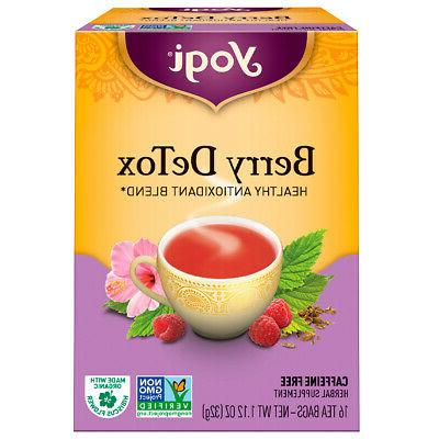 Yogi Herbal Tea Berry DeTox, Caffeine Free,16 Tea Bags, 1.12