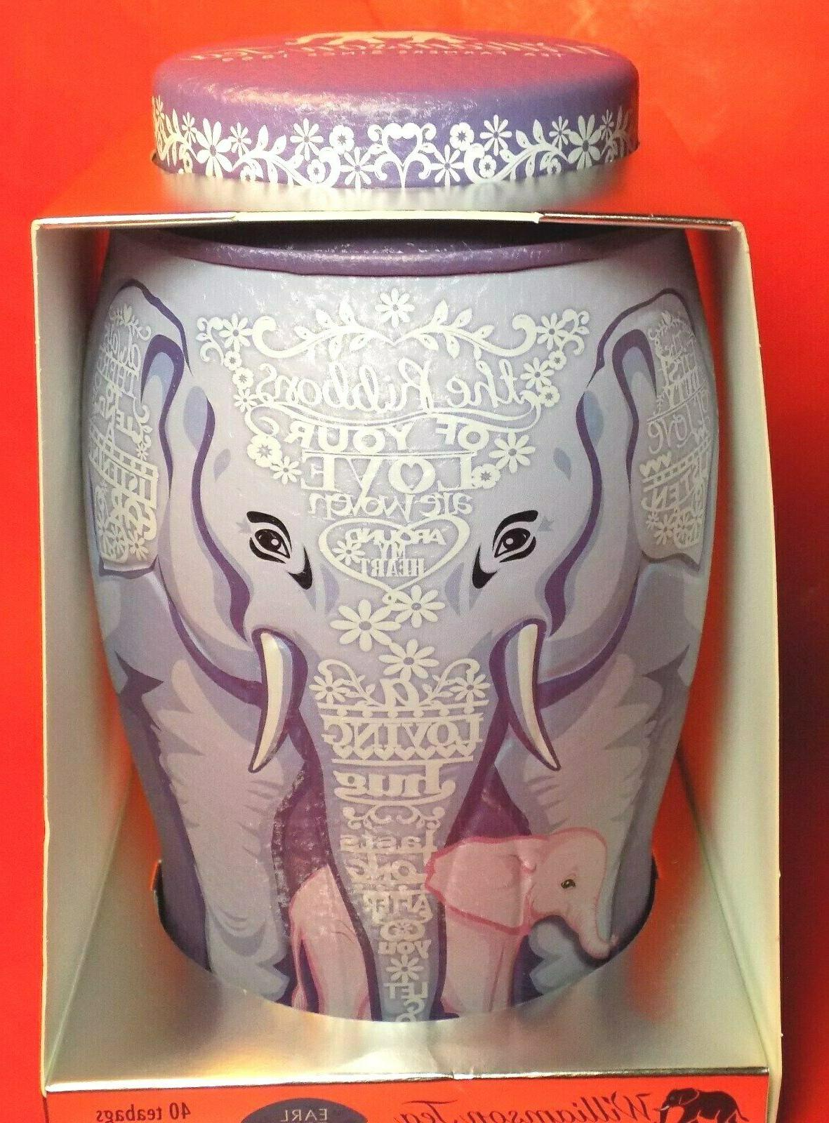 Williamson Tea Elephant Mother w/ Baby Canister 40 Earl bags