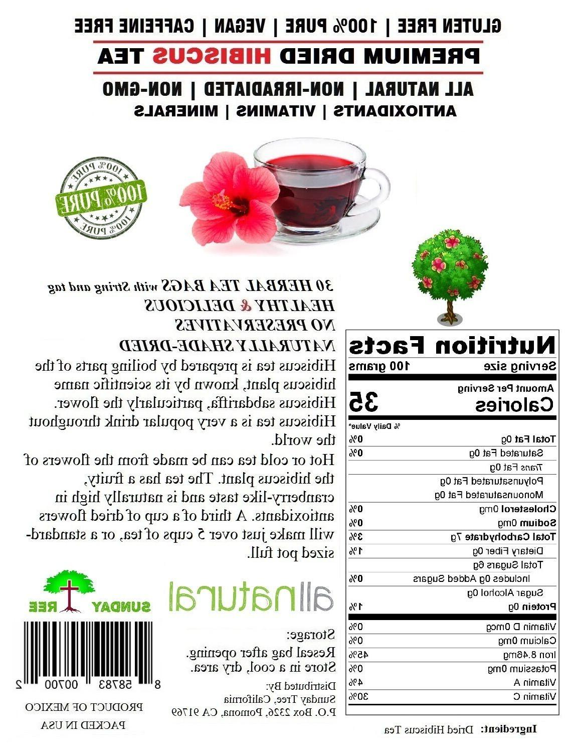Hibiscus Tea 100% Natural Rich Resealable Pouch